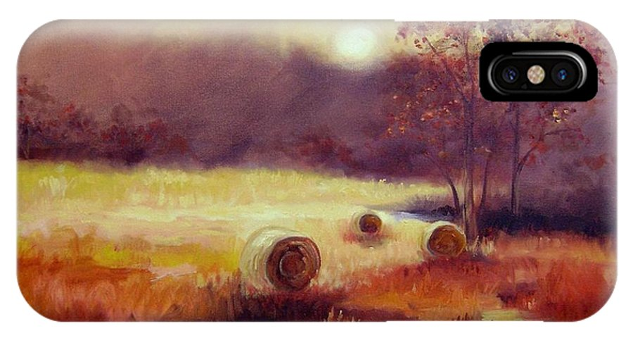 Fall Landscapes IPhone Case featuring the painting October Pasture by Ginger Concepcion