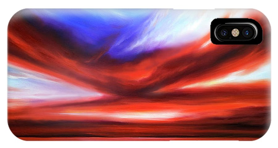 Sunrise; Sunset; Power; Glory; Cloudscape; Skyscape; Purple; Red; Blue; Stunning; Landscape; James C. Hill; James Christopher Hill; Jameshillgallery.com; Ocean; Lakes; Storm; Tornado; Lightning IPhone X / XS Case featuring the painting October Sky V by James Christopher Hill
