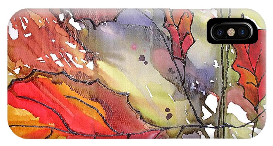 Leaf IPhone X Case featuring the mixed media Octoberthird by Susan Kubes