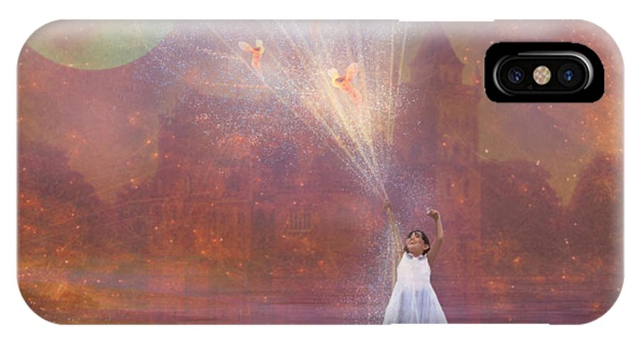Fairyland IPhone X Case featuring the painting Off To Fairy Land - By Way Of Fairyloons by Carrie Jackson