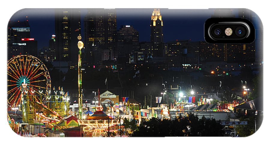 Ohio State Fair IPhone X Case featuring the photograph D3l-464 Ohio State Fair With Columbus Skyline by Ohio Stock Photography