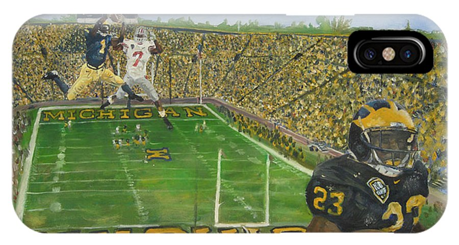 Michigan IPhone X Case featuring the painting Ohio State Vs. Michigan 100th Game by Travis Day