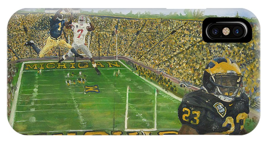 Michigan IPhone X / XS Case featuring the painting Ohio State Vs. Michigan 100th Game by Travis Day