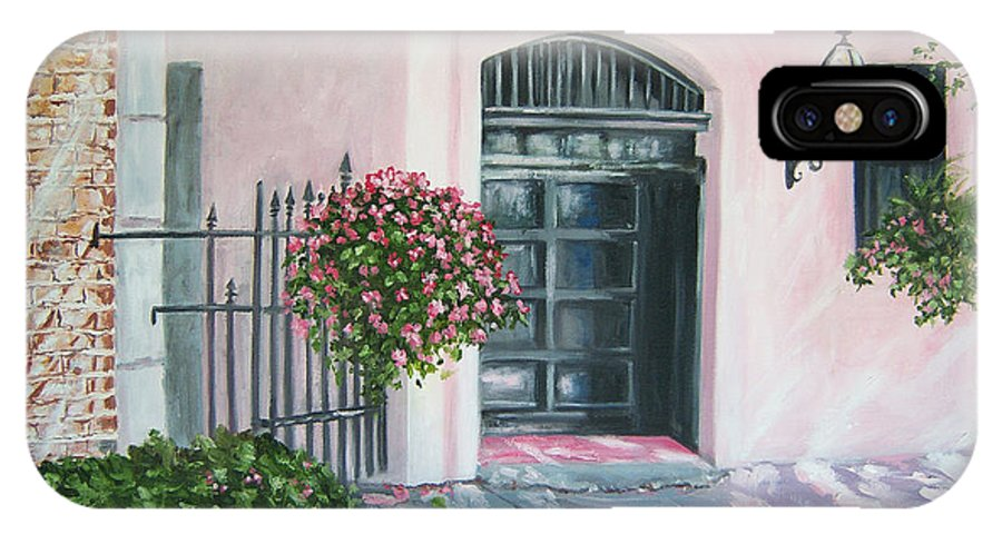 Fine Art Print IPhone Case featuring the painting oil painting print art for sale Pink Wall and Door  by Diane Jorstad