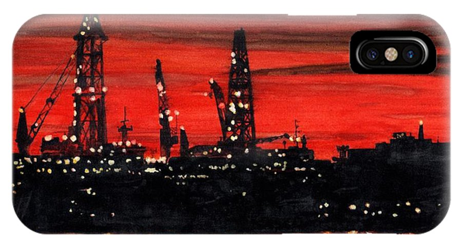 Cityscape IPhone X Case featuring the painting Oil Rigs Night Construction Portland Harbor by Dominic White