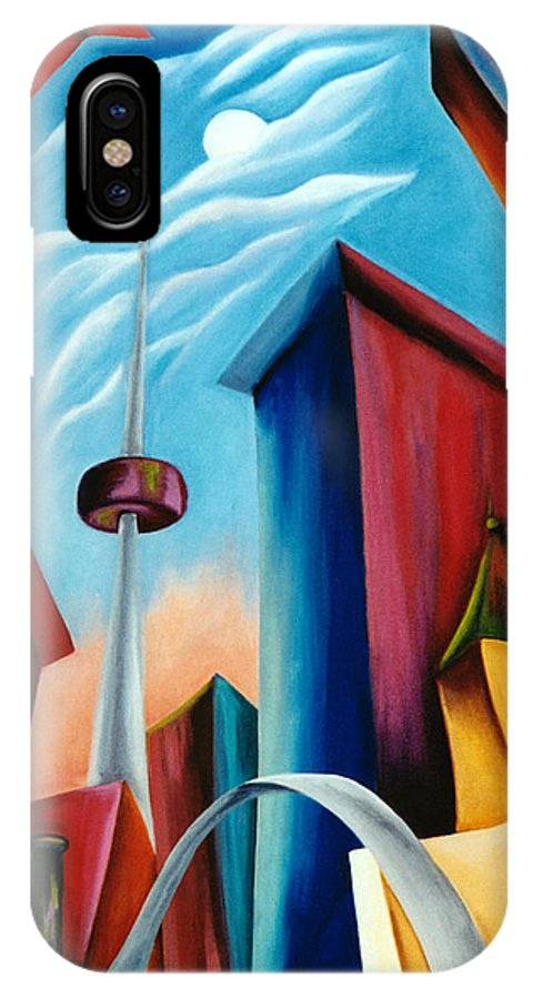 Toronto Landscape IPhone X Case featuring the painting O'keeffe's Toronto by Lynn Soehner