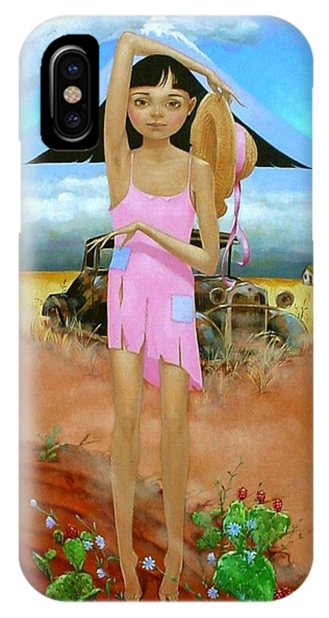 Country Girl IPhone X Case featuring the painting Oklahoma Girl With Mt.fuji by Jerrold Carton