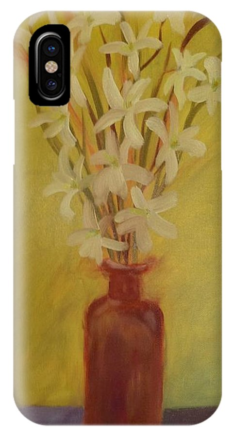 IPhone X Case featuring the painting Old Amber Bottle With New Purpose by Barrie Stark