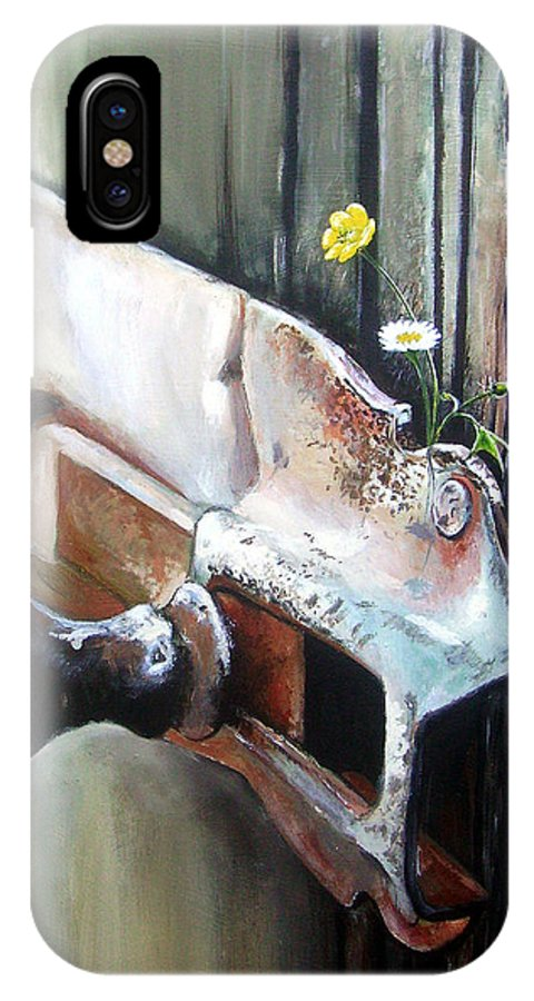 Rusty Old Flowers Buttercup Dasiy Green Wood IPhone Case featuring the painting Old And Rusty by Arie Van der Wijst