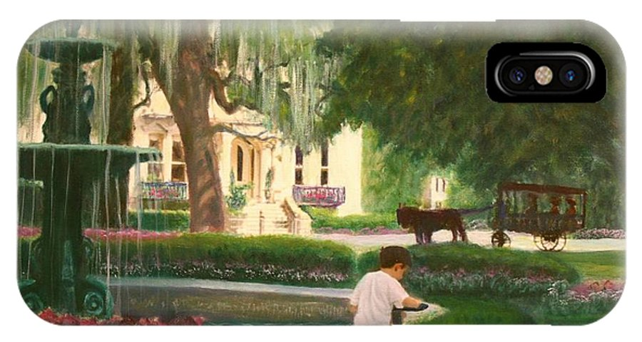 Savannah; Fountain; Child; House IPhone X Case featuring the painting Old And Young Of Savannah by Ben Kiger