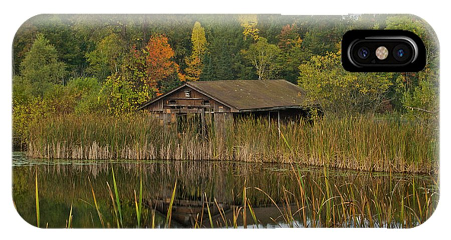 Lake IPhone X Case featuring the photograph Old Bait Shop On Twin Lake_9626 by Michael Peychich
