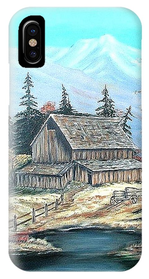Landscape Pond Wagon Old Trees Mountain IPhone X Case featuring the painting Old Barn Above The Pond by Kenneth LePoidevin