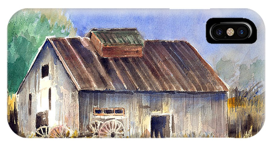 Barn IPhone X / XS Case featuring the painting Old Barn by Arline Wagner