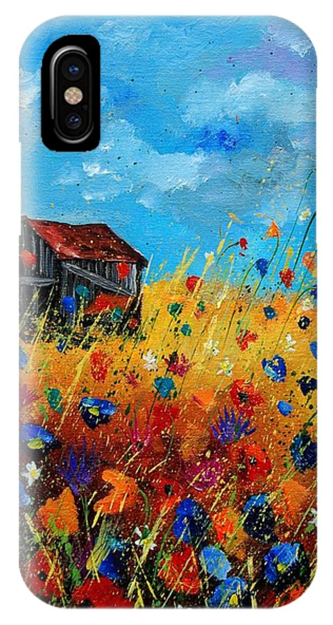 Poppies IPhone X Case featuring the painting Old Barn by Pol Ledent