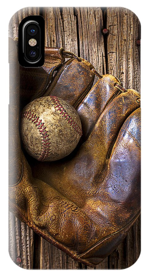 Old IPhone X Case featuring the photograph Old Baseball Mitt And Ball by Garry Gay