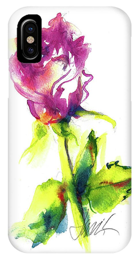 Painting Of Pink Rose IPhone X Case featuring the painting Old Blush - Rose by Jacki Kellum