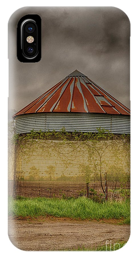 Barn IPhone X / XS Case featuring the photograph Old Corn Crib In The Cloudy Sky by Terri Morris