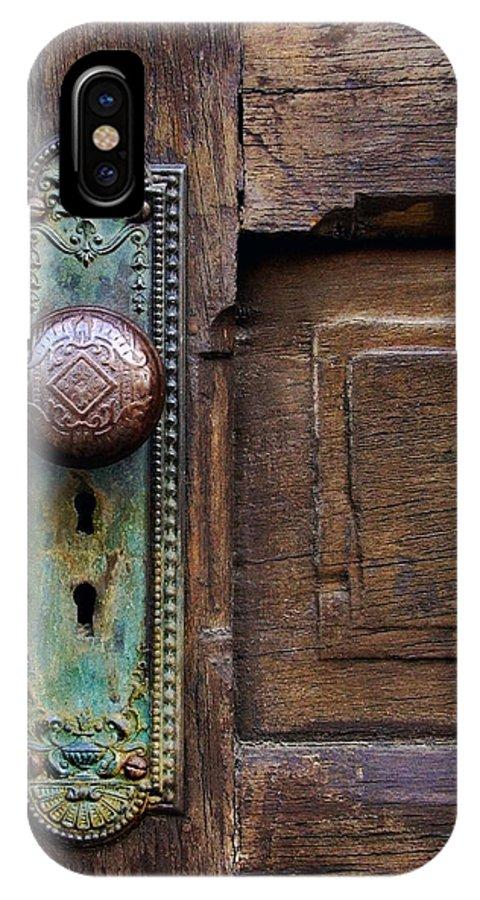Antique Door IPhone X Case featuring the photograph Old Door Knob by Joanne Coyle
