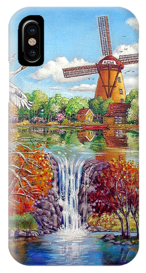 Dutch Windmill IPhone X Case featuring the painting Old Dutch Windmill by John Lautermilch