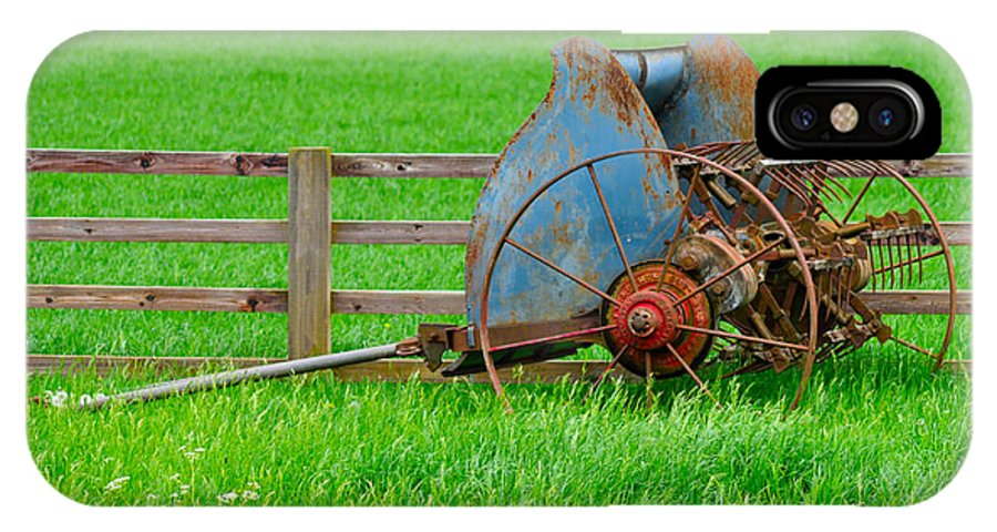 Grass IPhone X Case featuring the photograph Old Farm Equipment by Robert Barnes