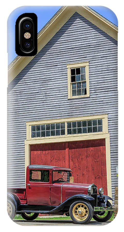 New Hamphire IPhone X Case featuring the photograph Old Ford Model A Pickup In Front Barn by Edward Fielding