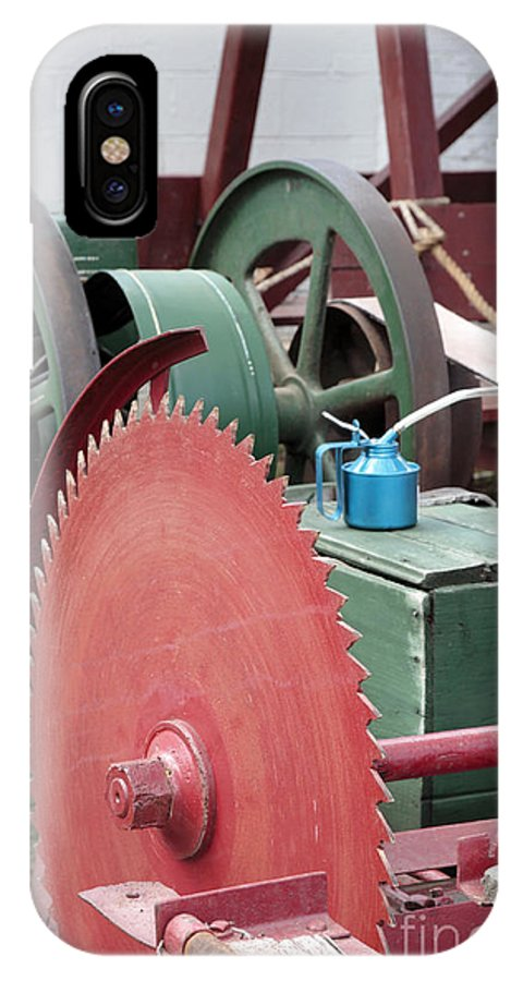 Agricultural Fair IPhone X Case featuring the photograph Old Gas Engine And Saw Blade At A County Fair by William Kuta