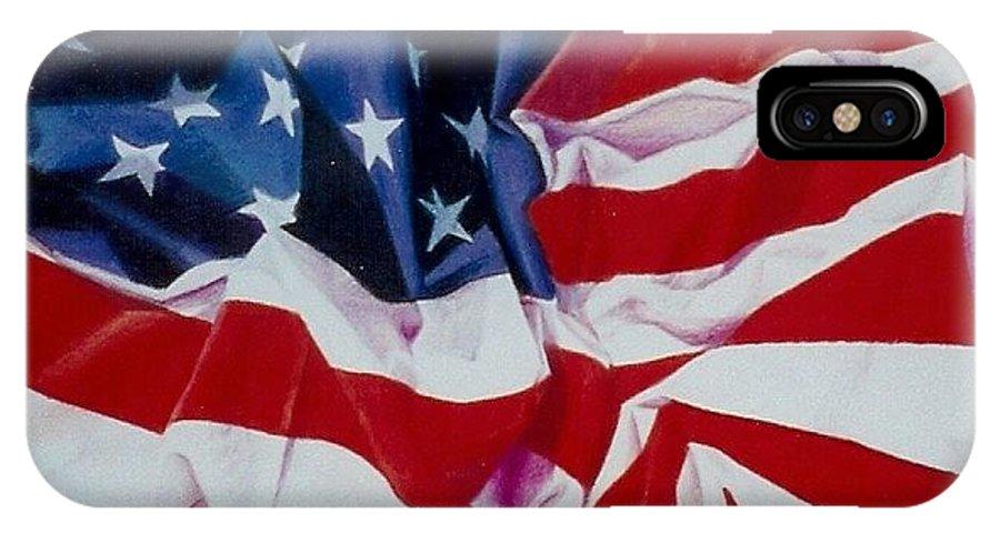 Red IPhone X Case featuring the painting Old Glory 1 by Constance Drescher