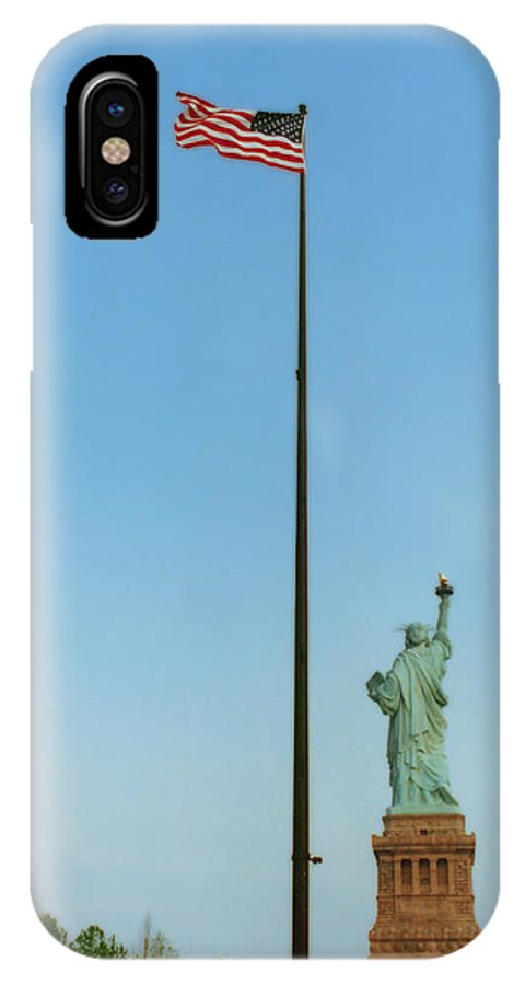 Statue Of Liberty IPhone X Case featuring the photograph Old Glory And Lady Liberty by Mark Fuller