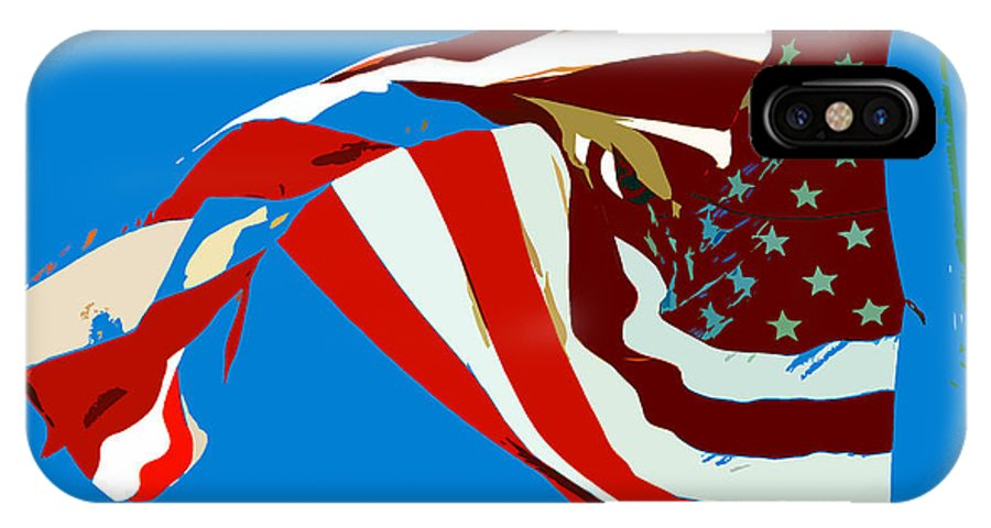 Old Glory IPhone X Case featuring the painting Old Glory Flying by David Lee Thompson