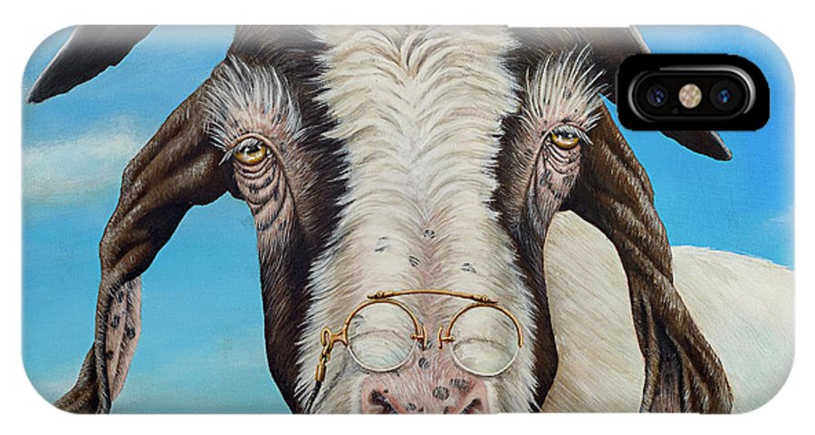 Goat IPhone X Case featuring the painting Old Goat - Painting By Cindy Chinn by Cindy D Chinn