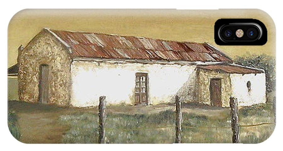 Old House Landscape Country IPhone X Case featuring the painting Old House by Natalia Tejera