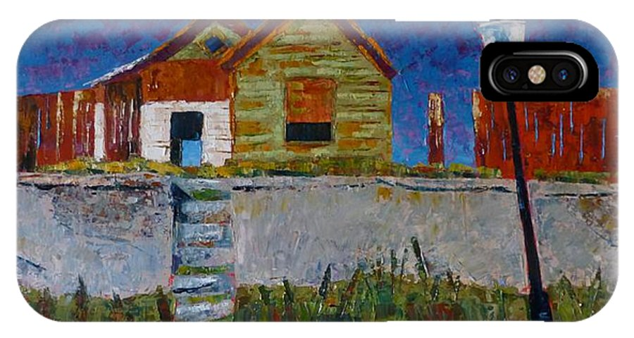 Old House IPhone X Case featuring the painting Old House With Lamppost by Susan Tormoen