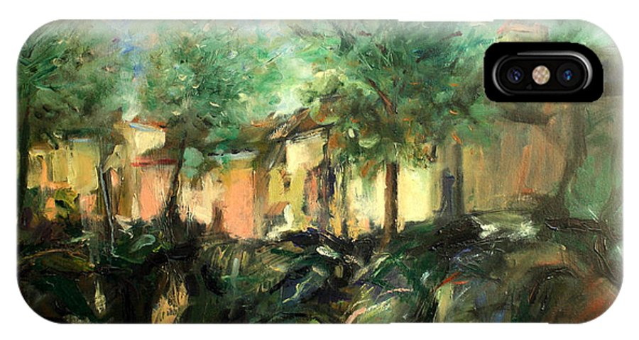 Old Houses IPhone X Case featuring the painting Old Houses by Mario Zampedroni