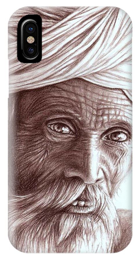 Man IPhone Case featuring the drawing Old Indian Man by Nicole Zeug