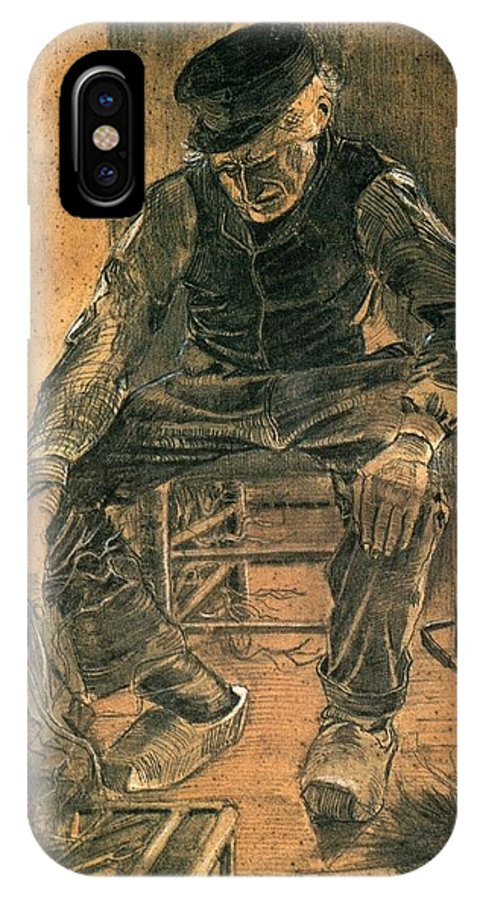 Vincent Van Gogh IPhone X Case featuring the painting Old Man At The Fireside by Vincent Van Gogh
