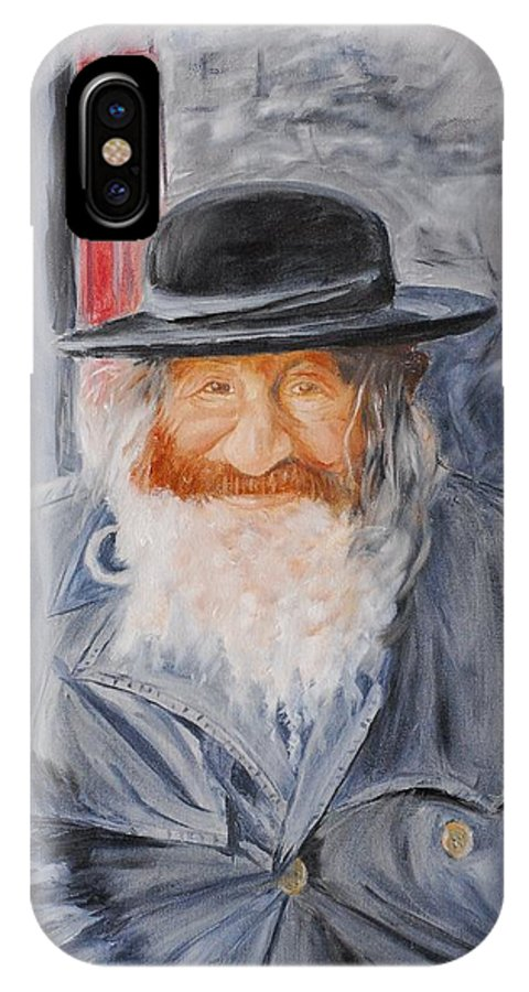 Jerusalem IPhone X Case featuring the painting Old Man Of Jerusalem by Quwatha Valentine