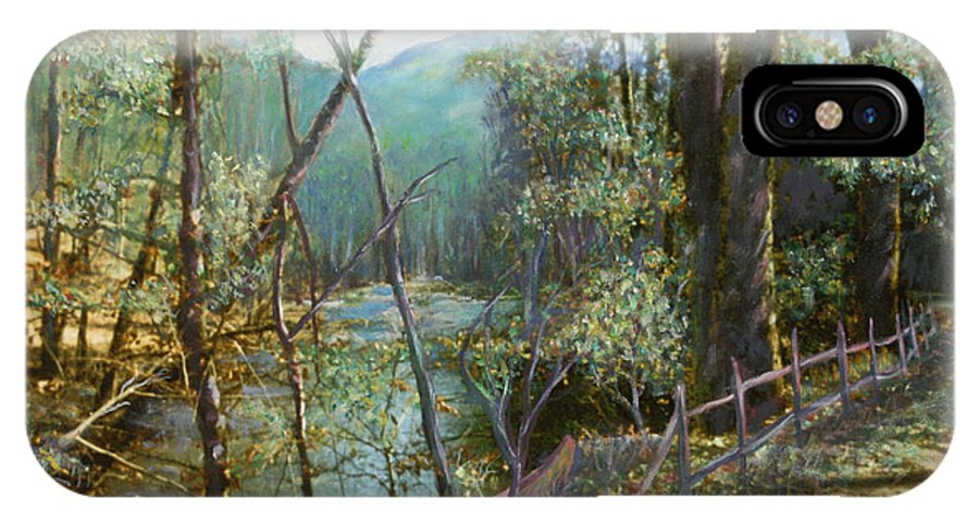 River; Trees; Landscape IPhone X Case featuring the painting Old Man River by Ben Kiger
