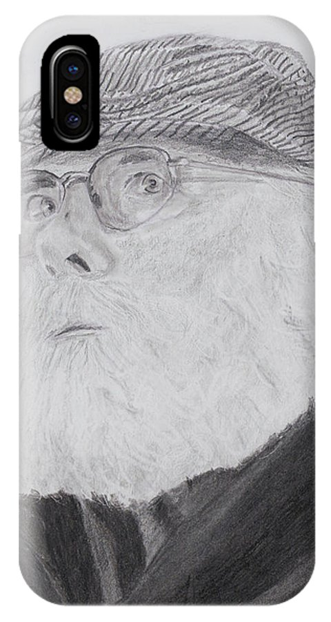 Portrait IPhone X Case featuring the drawing Old Man With Beard by Quwatha Valentine