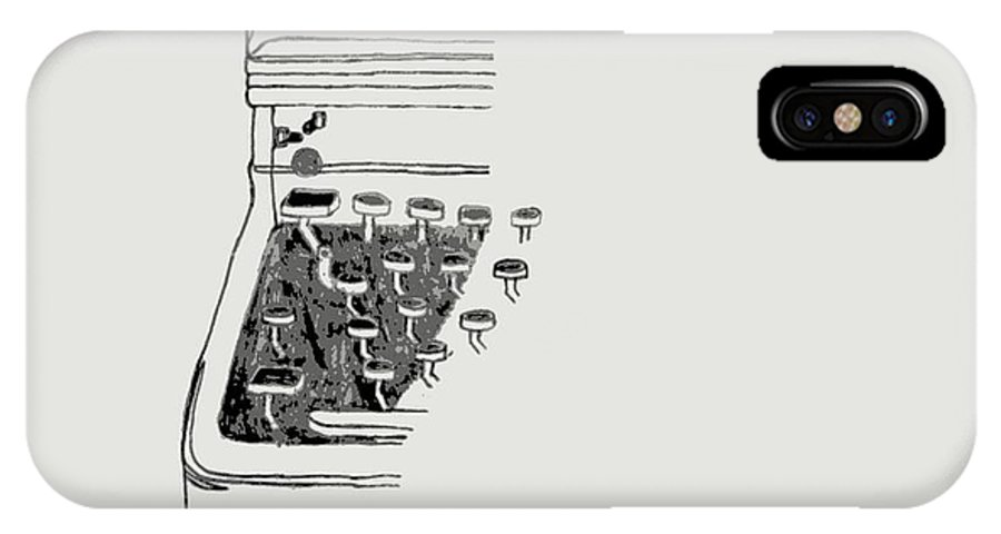Old IPhone X Case featuring the drawing Old Manual Typewriter by Sheri Buchheit
