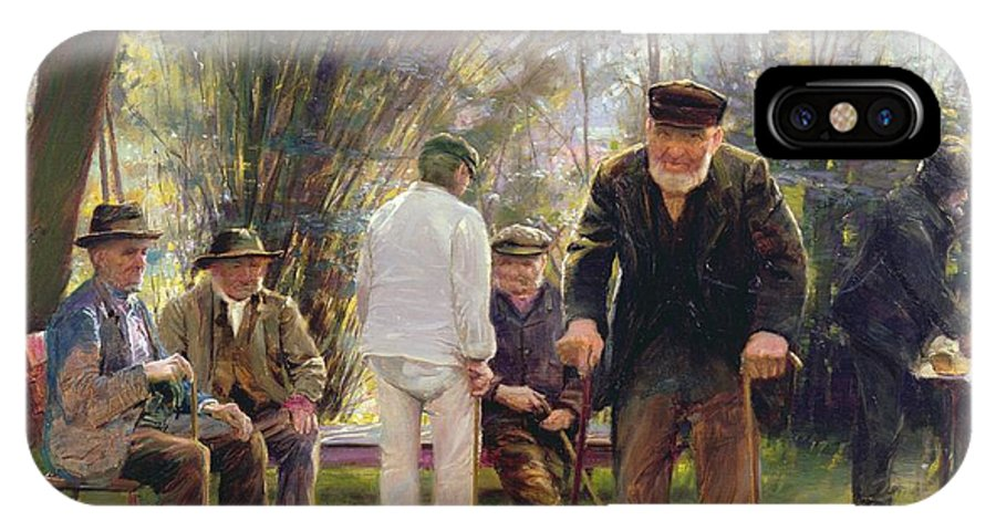 Old IPhone X Case featuring the painting Old Men In Rockingham Park by Walter Bonner Gash