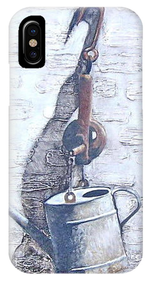 Old Metal Still Life IPhone X Case featuring the painting Old Metal by Natalia Tejera