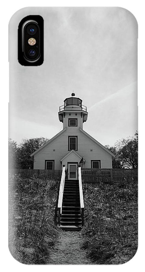 Black And White Lighthouse IPhone X Case featuring the photograph Old Mission Point Lighthouse by Joann Copeland-Paul