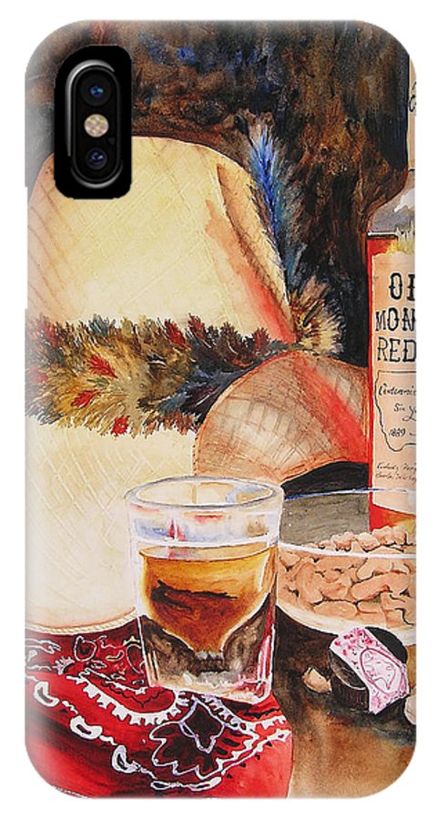 Whiskey IPhone X Case featuring the painting Old Montana Red Eye by Karen Stark