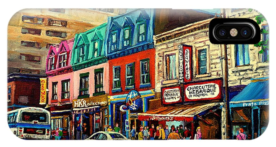 Old Montreal Schwartzs Deli Plateau Montreal City Scenes IPhone X Case featuring the painting Old Montreal Schwartzs Deli Plateau Montreal City Scenes by Carole Spandau