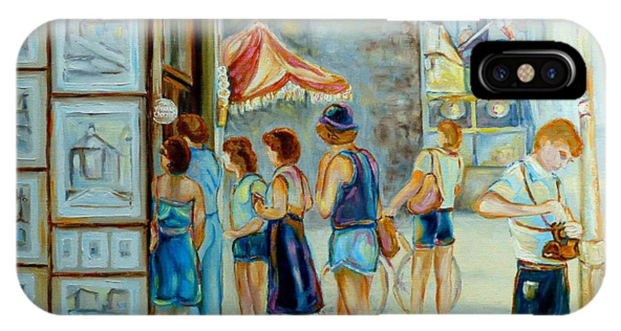 Old Montreal Street Scene IPhone X Case featuring the painting Old Montreal Street Scene by Carole Spandau