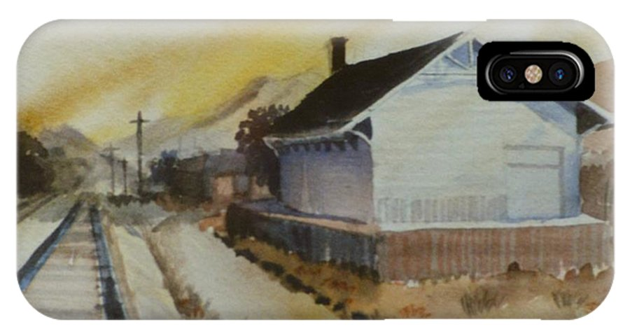 Train IPhone X Case featuring the painting Old Morgan Train Depot by JoAnne Corpany