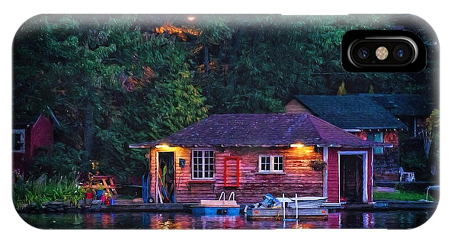 Boat IPhone X Case featuring the photograph Old Muskoka Boathouse At Night by Les Palenik