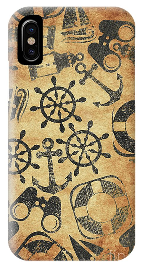 Vintage IPhone X Case featuring the photograph Old Nautical Parchment by Jorgo Photography - Wall Art Gallery