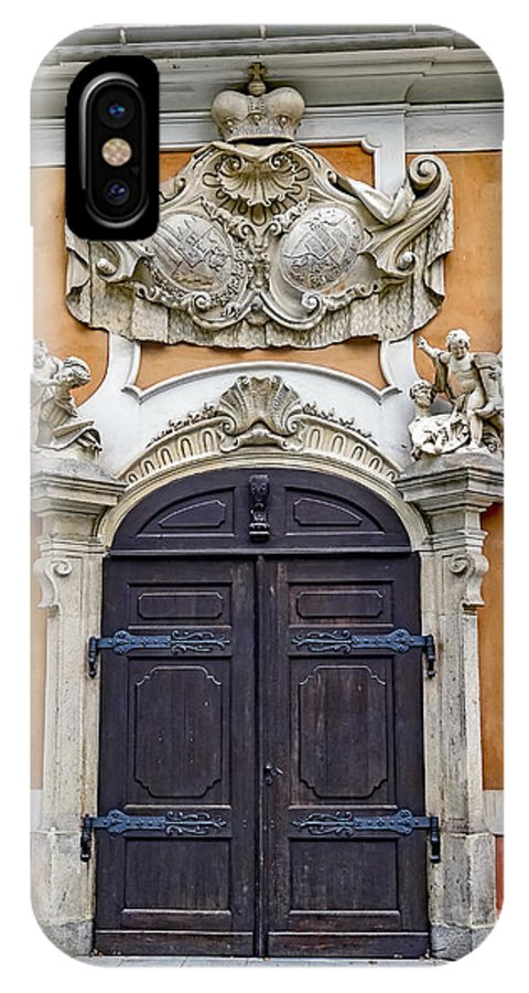 Old Ornate Door IPhone X Case featuring the photograph Old Ornate Door At The Cesky Krumlov Castle At Cesky Krumlov In The Czech Republic by Richard Rosenshein
