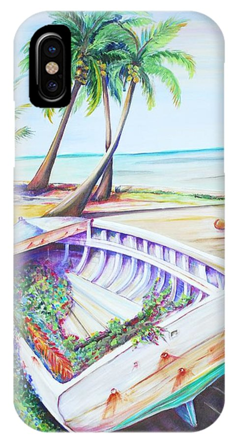 Old Dinghy IPhone X Case featuring the painting Old Paint by Patricia Piffath